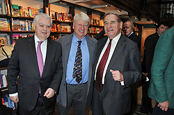 Left to right, LORD LAMONT OF LERWICK, STANLEY JOHNSON and LORD BRITTAN OF SPENNITHORNE at a party to celebrate the publication of Stanley Johnson's new book 'Where The Wild Things Were' held at Daunt Books, 83 Marylebone High Street, <br /> London W1 on 18th July 2012.