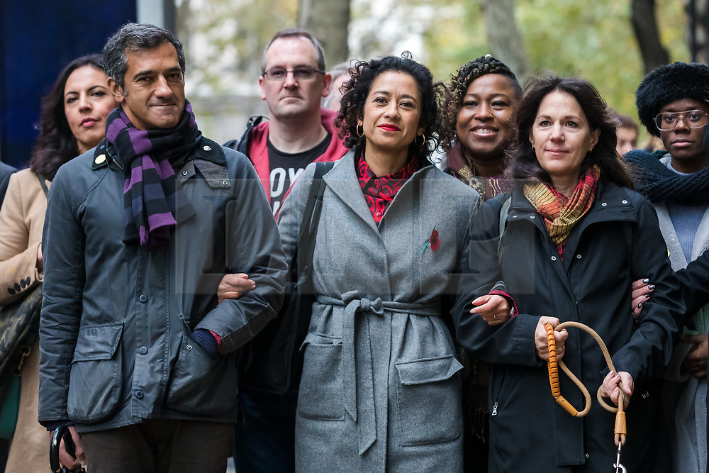 © Licensed to London News Pictures. 07/11/2019. London, UK. Television presenter and journalist, Samira Ahmed (C) with her supporters, including her brother, Salim Ahmed (L) and television writer and 'The Young Ones' co writer, Lise Mayer, (R) arrives at the Central London Employment Tribunal to attend an equal pay case hearing against the BBC. Samira Ahmed, who presents Newswatch on BBC One and Radio 4's Front Row claims she was paid less than male colleagues for doing equivalent work under the Equal Pay Act. Photo credit: Vickie Flores/LNP
