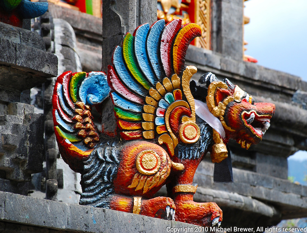 Brightly colored painted temple dragon in Bali, Indonesia.