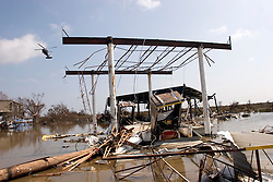 26th Sept, 2005.  Cameron, Louisiana. Hurricane Rita aftermath. <br />  The destroyed remains of a downtown business in Cameron, Louisiana two days after the storm ravaged the small town. The local Shell gas station lies in ruins, its pumps and infrastructure totally compromised. <br /> Photo; ©Charlie Varley/varleypix.com