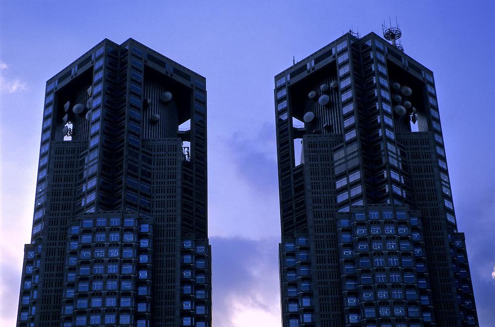 Japan, Tokyo, Shinjuku. July/29/2004...The twin towers of the Tokyo Metropolitan Building.