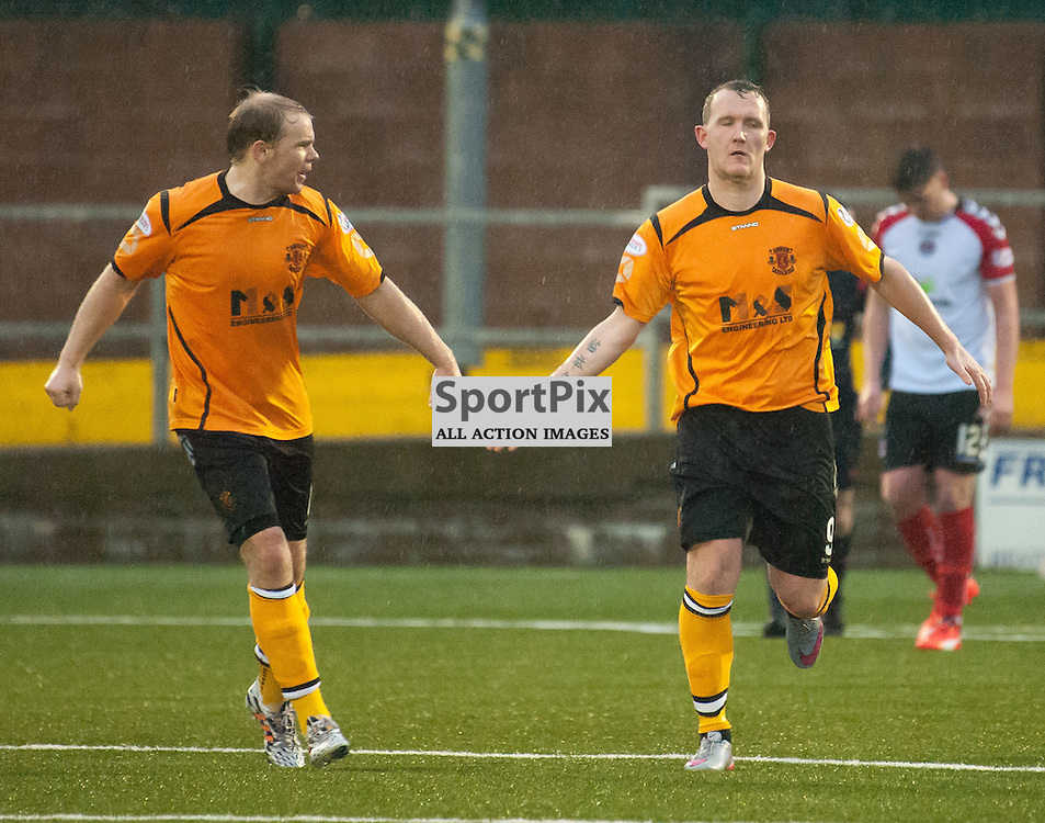 Peter Weatherson (Annan Athletic, right) celebrates ¥ Annan Athletic v Clyde ¥ Ladbrokes League 2 ¥ 26 December 2015 ¥ © Russel Hutcheson | SportPix.org.uk