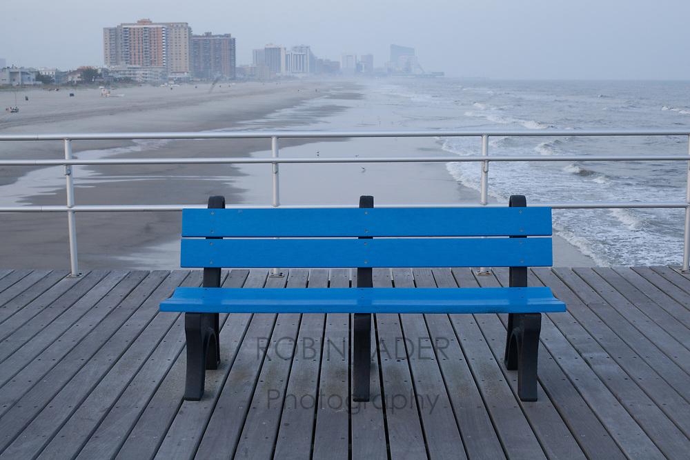 Blue bench on Ventnor City's fishing pier.