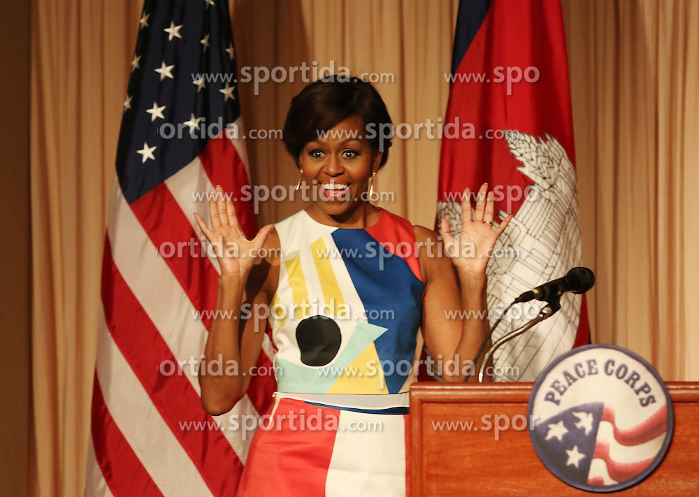 U.S. first Lady Michelle Obama speaks at the event &quot;Let Girls Learn&quot; in Siem Reap, Cambodia, March 21, 2015. Michelle Obama on Saturday met Cambodian female students to stress the importance of girls' education. EXPA Pictures &copy; 2015, PhotoCredit: EXPA/ Photoshot/ Sovannara<br /> <br /> *****ATTENTION - for AUT, SLO, CRO, SRB, BIH, MAZ only*****