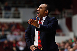 January 27, 2011; Stanford, CA, USA;  Stanford Cardinal head coach Johnny Dawkins argues a call during the first half against the Oregon Ducks at Maples Pavilion.