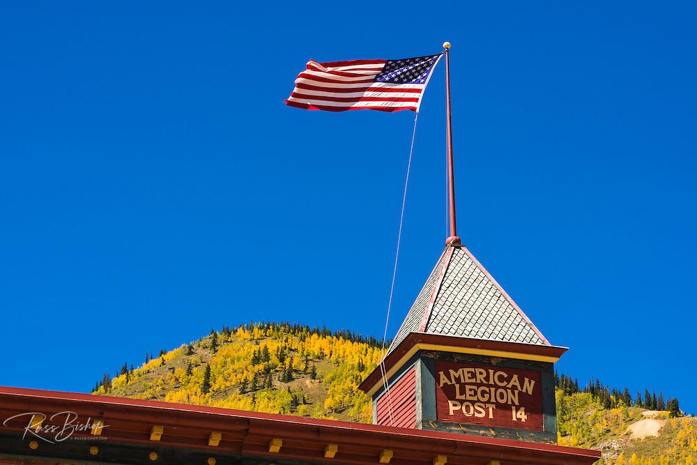 American Legion Post and fall color, Silverton, Colorado USA