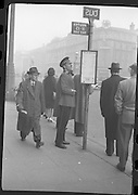Peter Hughes in Guard Uniform.   B269..1960..06.01.1960..01.06.1960..6th January 1960..Pictured strolling through Dublin was Mr Peter Hughes resplendent in his Guards Uniform.