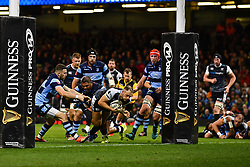 27th April 2019 , Principality Stadium , Cardiff, Wales ; Guinness pro 14's, Round 21, Cardiff Blues Vs Ospreys ; Cory Allen of Ospreys crashes over for a try<br /> <br /> Credit :  Craig Thomas/Replay Images