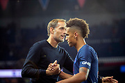 Thomas TUCHEL (PSG) greatd Thilo KEHRER (PSG) during the French Championship Ligue 1 football match between Paris Saint-Germain and AS Saint-Etienne on September 14, 2018 at Parc des Princes stadium in Paris, France - Photo Stephane Allaman / ProSportsImages / DPPI