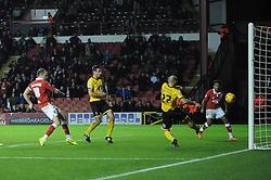 Bristol City's Aaron Wilbraham scores a goal. - Photo mandatory by-line: Dougie Allward/JMP - Mobile: 07966 386802 - 11/11/2014 - SPORT - Football - Bristol - Ashton Gate - Bristol City v AFC Wimbledon - Johnstone Paint Trophy