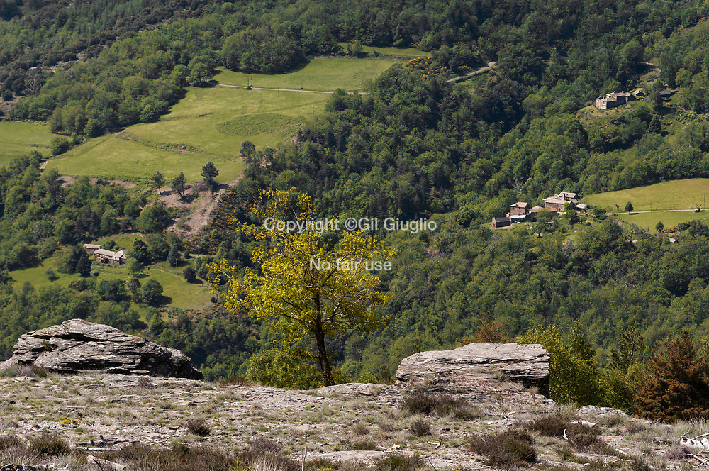 France, Occitanie, Lozère (48), Les Cévennes, paysage depuis GR67 et GR70 environs du village de Barre-des-Cévennes, C'est aussi le Chemin des Camisards // France, Occitanie, Lozere departement, Cevennes area, landscape from GR70 and GR 67 around village of Barre-des-Cevennes, trail also called Chemin des Camisards (old protests religious people during religious war in France)