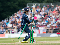 EDINBURGH, SCOTLAND - JUNE 10: Scotland all rounder, Dylan Budge is clean bowled by England seamer, Mark Wood,for 11 in the first innings of the one-off ODI at the Grange Cricket Club on June 10, 2018 in Edinburgh, Scotland. (Photo by MB Media/Getty Images)