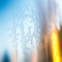Ice crystals form on the shell of an Airstream trailer on a frosty morning in Bellevue, Washington