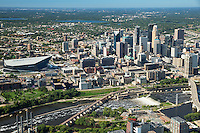 Aerial view of the Minneapolis, Minnesota skyline and riverfront including the new US Bank stadium, home of the Minnesota Vikings. This view includes St. Anthony falls, the Stone Arch Bridge, Guthrie Theatre, Gold Medal Park, IDS, Wells Fargo Center and chain of lakes in the background.