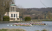 Henley. United Kingdom. Women's reserve race, Dark blue Osiris and Blondie, approaching temple island; 2014 Henley Boat Race, Henley Reach, Annual Women's Boat Race.  River Thames; Sunday  - 30/03/2014  [Mandatory Credit; Peter SPURRIER/ Intersport Images],