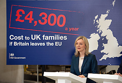 © Licensed to London News Pictures.18/04/2016. Bristol, UK.  National Composites Centre, Emersons Green. Picture of: Secretary of State for Environment, Food and Rural Affairs LIZ TRUSS. Treasury Report event re the EU referendum and the cost to UK families of the UK leaving the EU, with Chancellor George Osborne, Secretary of State for Energy and Climate Change Amber Rudd, Secretary of State for Environment, Food and Rural Affairs Liz Truss, and Secretary of State for Work and Pensions Stephen Crabb. Photo credit : Simon Chapman/LNP