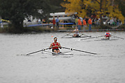 Boston, USA,  Sculler competing at the Head of the Charles, Race Charles River,  Cambridge,  Massachusetts. Saturday  20/10/2007  [Mandatory Credit Peter Spurrier/Intersport Images]..... , Rowing Course; Charles River. Boston. USA