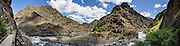 After 5 miles, the Imnaha River Trail ends at the confluence with the Snake River in Hells Canyon National Recreation Area, Wallowa-Whitman National Forest, north of Imnaha village, Oregon, USA. The entire river is designated Wild and Scenic. This panorama was stitched from 6 overlapping photos.
