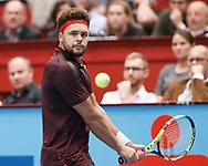 JO-WILFRIED TSONGA (FRA) Rueckhand,action, Aktion, Einzelbild, Halbkoerper, <br /> Tennis - ERSTE BANK OPEN 2017 - ATP 500 -  Stadthalle - Wien -  - Oesterreich  - 28 October 2017. <br /> © Juergen Hasenkopf
