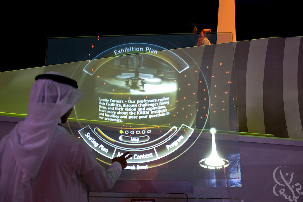 A Saudi man uses a specially designed interactive touch screen kiosk during the King Abdullah University of Science and Technology (KAUST) Inauguration Ceremony September 23, 2009 in Thuwal, Saudi Arabia (about 80 Kilometers north of Jeddah.) The University will act as a living laboratory by demonstrating that environmentally responsible methods of energy use, materials management, and water consumption are viable in the Middle East and across the globe. (Photo by Scott Nelson).