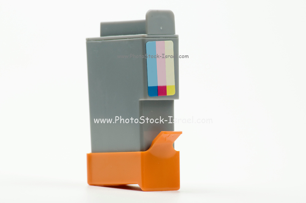 Cutout of a Generic colour ink cartridge on white background