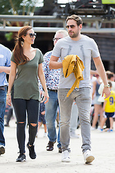 © Licensed to London News Pictures. 07/08/2016. Malton UK. Picture shows Hollyoaks actress Jennifer Metcalfe with partner Greg Lake on a day out at Flamingo land in Yorkshire. The actress who plays Mercedes McQueen in the soap was accompanied by her partner & former Geordie Shore star Greg Lake. Jennifer was at Flamingo Land to launch a new restaurant at the adventure park called Fabrizio's. Photo credit: Andrew McCaren/LNP