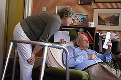 Carer and elderly man,