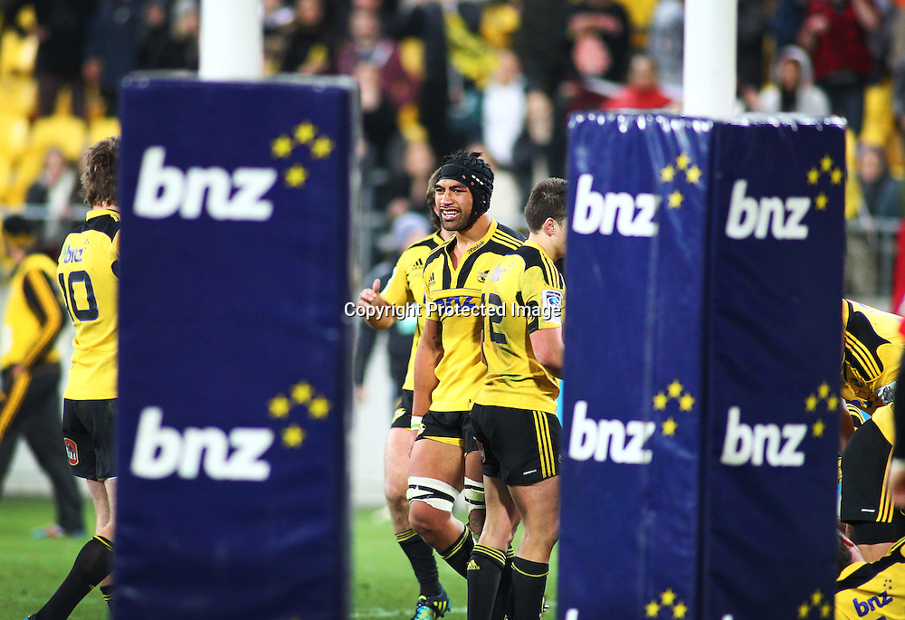 Victor Vito looks unsure as to which way the final TMO decision will go, During the Hurricanes v Chiefs Super Rugby match at Westpac Stadium, Wellington, New Zealand on Friday 13 July 2012.  PHOTO: Grant Down / photosport.co.nz