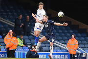 Gillingham forward Luke Norris and Gillingham defender Max Ehmer during the Sky Bet League 1 match between Southend United and Gillingham at Roots Hall, Southend, England on 19 March 2016. Photo by Martin Cole.
