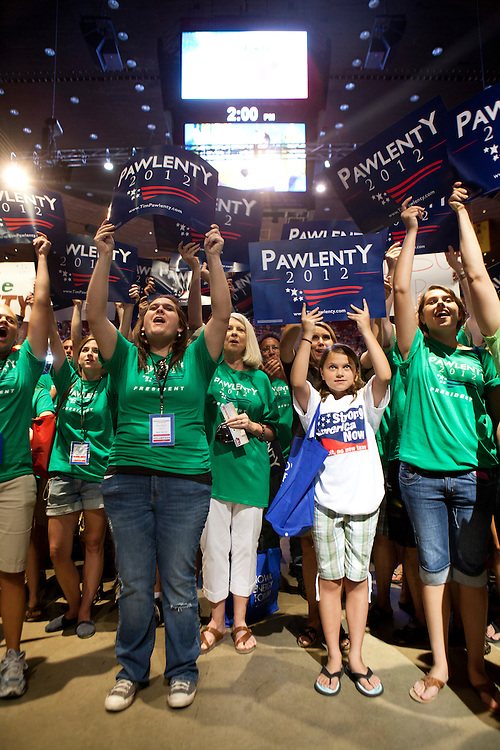 Supporters of Republican presidential hopeful Tim Pawlenty cheer their candidate at the Iowa Republican Straw Poll on Saturday, August 13, 2011 in Ames, IA.