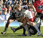 Reading, GREAT BRITAIN, Tigers Andy GOODE, tackled, left Tonga LEA'AETOA and right Richard THORPE, during the Guinness Premiership match, London Irish vs Leicester Tigers, played at the Madejski Stadium, on Sun. 17th Feb 2008.  [Mandatory Credit, Peter Spurrier/Intersport-images].....Watford, GREAT BRITAIN, during the Pool 4 Rd 5  Heineken Cup game Saracens vs Biarittz at Vicarage Road, Hert's  26/04/2007  [Photo, Peter Spurrier/Intersport-images].....