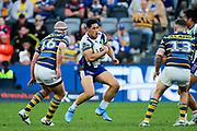 Roger Tuivasa-Sheck in possession. Parramatta Eels v Vodafone Warriors. NRL Rugby League. Bankwest Stadium, Sydney, Australia. 27th July 2019. Copyright Photo: David Neilson / www.photosport.nz