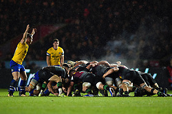 The two forward packs in action at a scrum - Mandatory byline: Patrick Khachfe/JMP - 07966 386802 - 23/11/2019 - RUGBY UNION - The Twickenham Stoop - London, England - Harlequins v Bath Rugby - Heineken Champions Cup