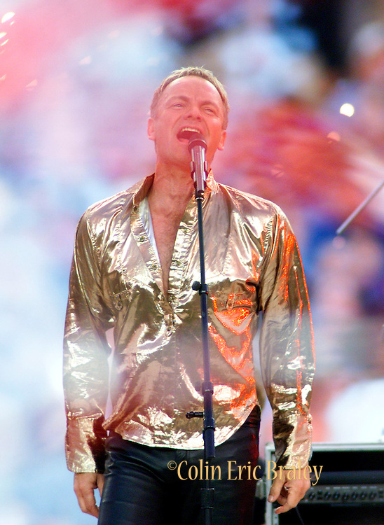 Musical star Sting performs prior to the start of Super Bowl XXXV at Raymond James Stadium in Tampa, January 28, 2001.