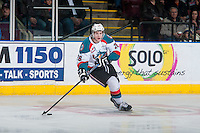 KELOWNA, CANADA - JANUARY 24: Cole Linaker #26 of Kelowna Rockets skates with the puck against the Everett Silvertips on January 24, 2015 at Prospera Place in Kelowna, British Columbia, Canada.  (Photo by Marissa Baecker/Shoot the Breeze)  *** Local Caption *** Cole Linaker;