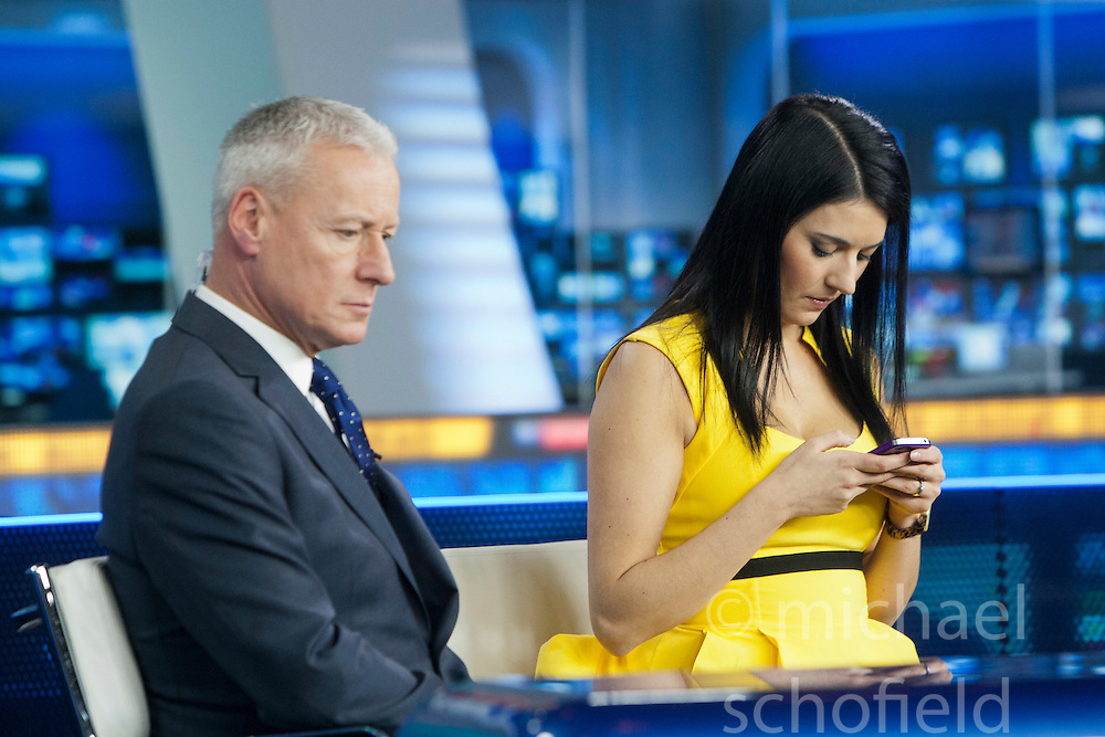 Jim White and Natalie Sawyer at the Sky Sports TV studio for the transfer Deadline Day show..© Michael Schofield...