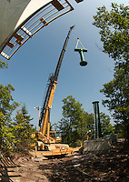Gunstock Mountain Resort setting towers for Zip Line Adventures September 3, 2011.