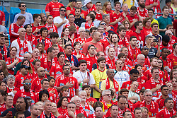 CHARLOTTE, USA - Saturday, August 2, 2014: Liverpool supporters stand for the national anthem before the International Champions Cup Group B match against AC Milan at the Bank of America Stadium on day thirteen of the club's USA Tour. (Pic by David Rawcliffe/Propaganda)