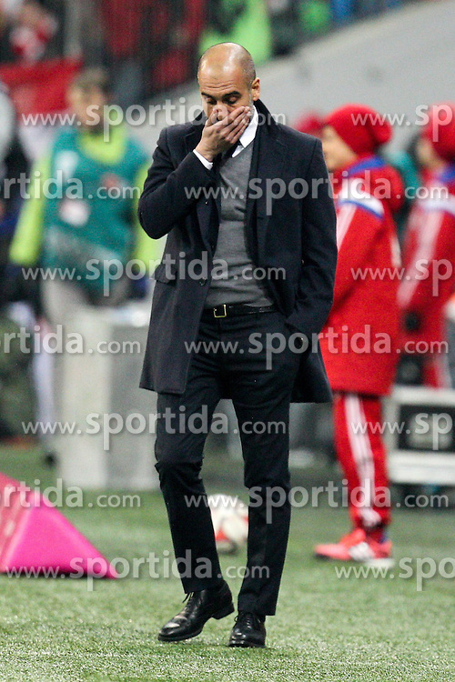 27.02.2015, Allianz Arena, Muenchen, GER, 1. FBL, FC Bayern Muenchen vs 1. FC K&ouml;ln, 23. Runde, im Bild Nachdenklich Chef-Trainer Pep Guardiola (FC Bayern Muenchen) // during the German Bundesliga 23rd round match between FC Bayern Munich and 1. FC K&ouml;ln at the Allianz Arena in Muenchen, Germany on 2015/02/27. EXPA Pictures &copy; 2015, PhotoCredit: EXPA/ Eibner-Pressefoto/ EXPA/ Kolbert<br /> <br /> *****ATTENTION - OUT of GER*****