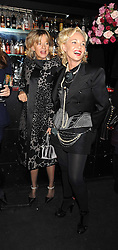 Left to right,  AMANDA ELIASCH and PRINCESS CHANTAL OF HANOVER at a party to celebrate the publication of Cloak & Dagger Butterfly by Amanda Eliasch held at the Soho Revue Bar, London on 17th November 2008.