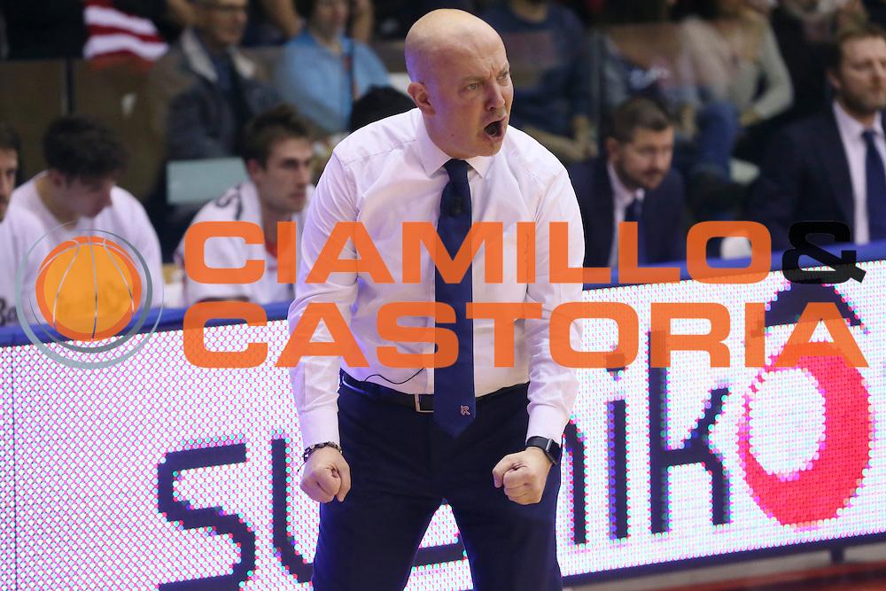 Massimiliano Menetti<br /> Grissin Bon Pallacanestro Reggio Emilia - Betaland Capo d' Orlando - <br /> Lega Basket Serie A 2016/2017<br /> Reggio Emilia, 05/12/2016<br /> Foto Ciamillo-Castoria