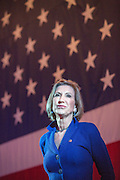 Former CEO and GOP presidential hopeful Carly Fiorina speaks at the USS Yorktown aircraft carrier museum during the South Carolina Young College Republicans mixer October 2, 2015 in Mt Pleasant, South Carolina. Florina attended despite extreme weather as Hurricane Joaquin passes offshore.