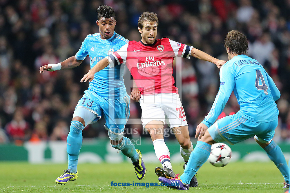 Picture by Richard Calver/Focus Images Ltd +447792 981244<br /> 26/11/2013<br /> Mathieu Flamini of Arsenal and Mario Lemina of Olympique de Marseille during the UEFA Champions League match at the Emirates Stadium, London.