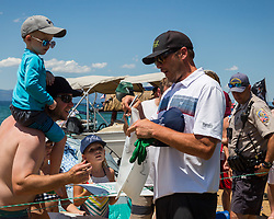 July 15, 2018 - Stateline, Nevada, U.S - Olympic Gold Medalist, BODE MILLER, signs autographs after teeing off from the 17th hole during the 29th annual American Century Championship at the Edgewood Tahoe Golf Course in Stateline, Nevada, on Sunday, July 15, 2018. (Credit Image: © Tracy Barbutes via ZUMA Wire)