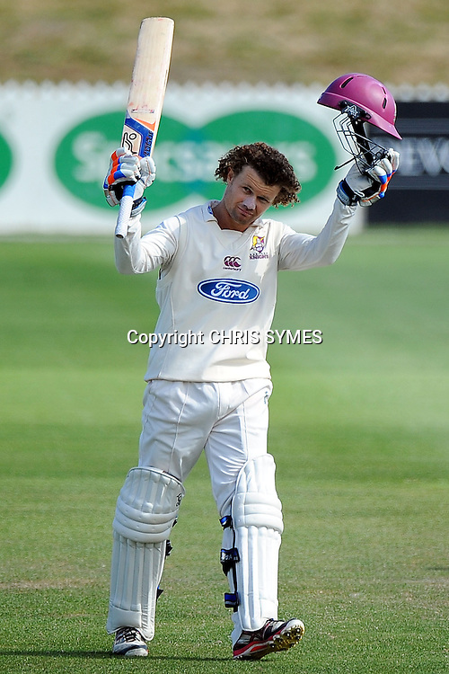 Knights player James Marshall celebrates his century during their Plunket Shield game against the Northern Knights at Saxton Oval, Nelson, New Zealand. Saturday 23 February 2013. Photo: Chris Symes/www.photosport.co.nz