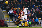 Millwall striker Lee Gregory (9) shot goes over the bar  during the EFL Sky Bet League 1 match between Bradford City and Millwall at the Northern Commercials Stadium at Valley Parade, Bradford, England on 21 January 2017. Photo by Simon Davies.