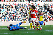 A chance for Leeds United midfielder Kemar Roofe (7) saved by Middlesbrough goalkeeper Darren Randolph (23)  during the EFL Sky Bet Championship match between Middlesbrough and Leeds United at the Riverside Stadium, Middlesbrough, England on 9 February 2019.