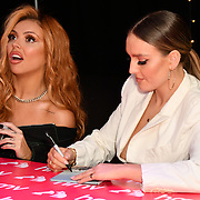 Jesy Nelson and Perrie Edwards sign copies of their latest album 'LM5' at hmv Oxford Street on 19 November 2018, London, UK.