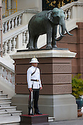 Wat Phra Keo and Grand Palace. Guard with elephant statue.