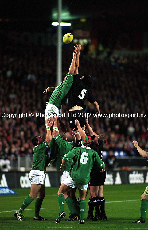 Norm Maxwell in action during the rugby union match between the All Blacks and Ireland, Eden Park, Auckland, 22 June, 2002. Photo: PHOTOSPORT